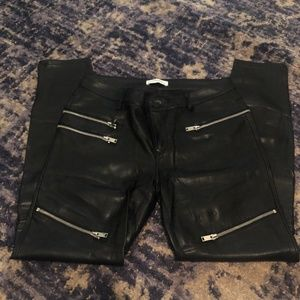 Zara Faux-Leather Motorcycle Jeggings